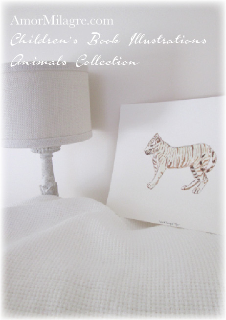 Amor Milagre Watercolor White Bengal Tiger The Shop at Dove Cottage Children's Book Illustrations beautiful for all spaces and ages, especially in a nursery amormilagre.com