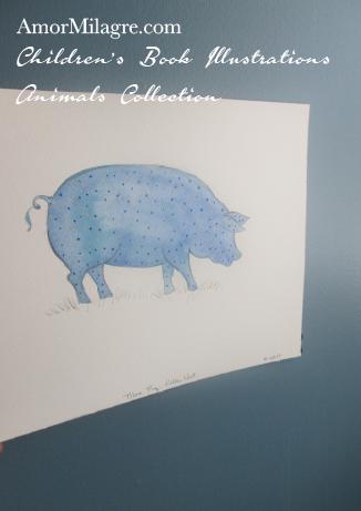 Amor Milagre Children's Book Illustrations Animals The Blue Polka Dot Pig amormilagre.com
