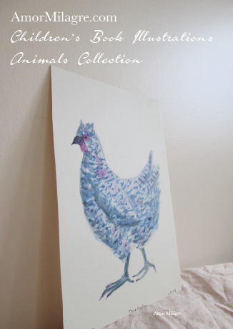 Amor Milagre Children's Book Animals Illustrations Blue Chicken Hen 1 beautiful for all spaces and ages, especially in a nursery amormilagre.com