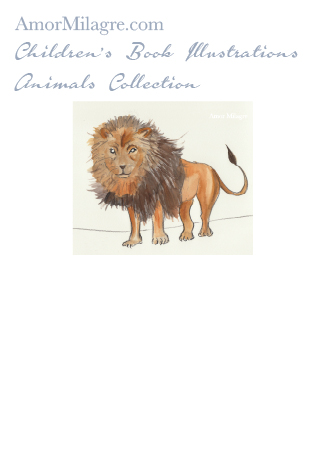 Amor Milagre Children's Book Animals Illustrations The Lion beautiful for all spaces and ages, especially in a nursery amormilagre.com