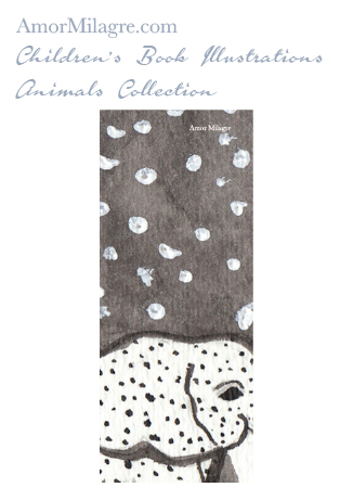 Amor Milagre Children's Book Animals Illustrations The Mamma and Baby Elephants 1 beautiful for all spaces and ages, especially in a nursery amormilagre.com