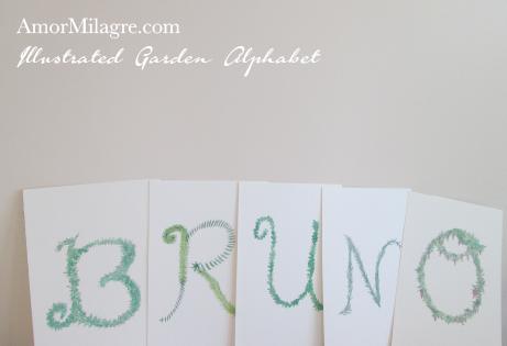 Amor Milagre Illustrated Garden Alphabet Letter BRUNO amormilagre.com