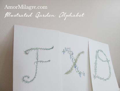 Amor Milagre Illustrated Garden Alphabet Letter FXD custom initials name word amormilagre.com