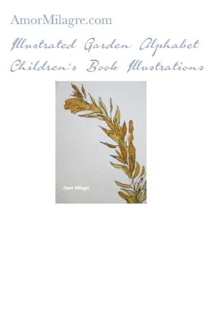 Amor Milagre Illustrated Garden Alphabet Letter W Golden Leaf 1 custom initials name word amormilagre.com
