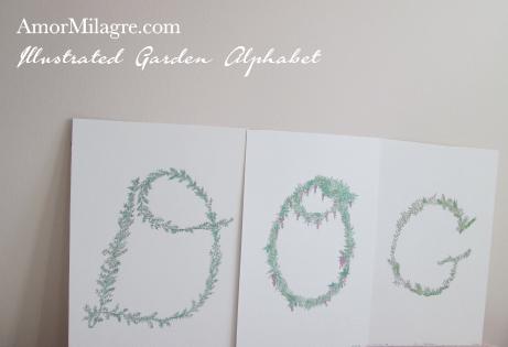 Amor Milagre Illustrated Garden Alphabet Letter DOG The Shop at Dove Cottage amormilagre.com