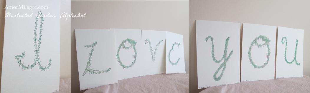 Amor Milagre Illustrated Garden Alphabet Letter I Love You amormilagre.com