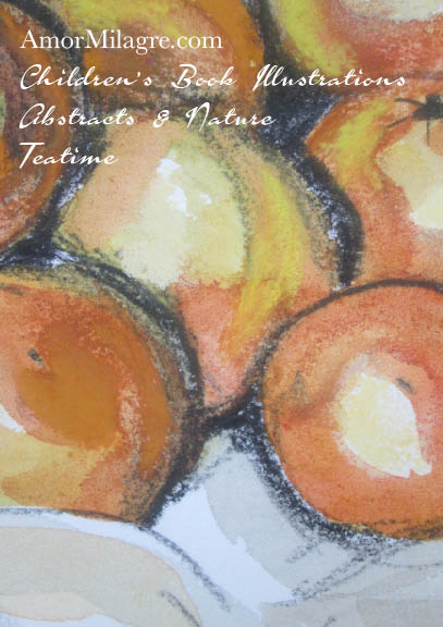 Amor Milagre 1 Oranges Nestled in a Tablecloth Charcoal Watercolor Abstract The Shop at Dove Cottage Children's Book Illustrations beautiful for all spaces ages, nursery amormilagre.com
