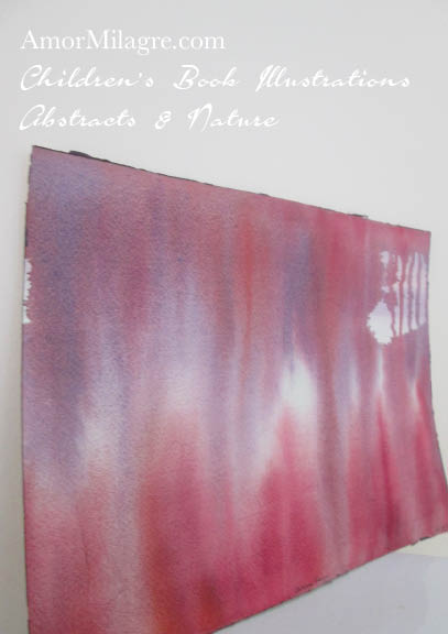 Amor Milagre Autumn Rain Red Purple Color Nature Paintings Watercolor Abstract The Shop at Dove Cottage Children's Book Illustrations beautiful for all spaces ages, nursery amormilagre.com