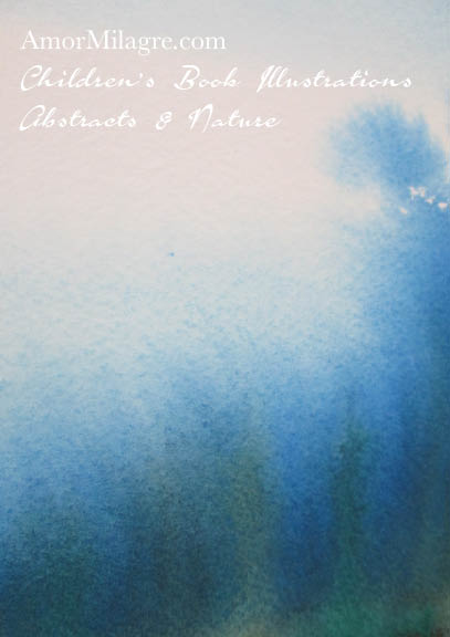 Amor Milagre Blue Trees Woods 1 Color Nature Paintings Watercolor Abstract The Shop at Dove Cottage Children's Book Illustrations beautiful for all spaces ages, nursery amormilagre.com