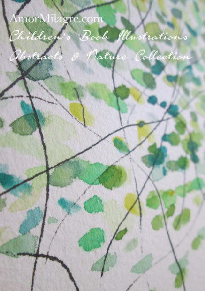 Amor Milagre Green Trees 2 Spring Summer Abstract Watercolor The Shop at Dove Cottage Children's Book Illustrations beautiful for all spaces and ages, especially in a nursery amormilagre.com
