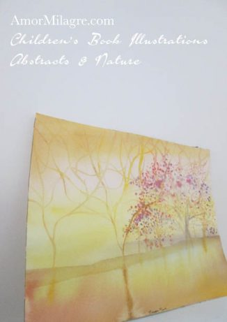 Amor Milagre Pepper Tree yellow Color Nature Paintings Watercolor Abstract The Shop at Dove Cottage Children's Book Illustrations beautiful for all spaces ages, nursery amormilagre.com
