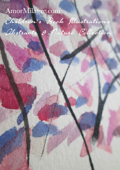 Amor Milagre Purple Trees 1 Autumn Fall Abstract Watercolor The Shop at Dove Cottage Children's Book Illustrations beautiful for all spaces and ages, especially in a nursery amormilagre.com
