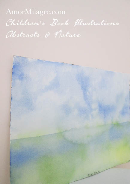 Amor Milagre Reflect Heaven Blue White Green Color Nature Paintings Watercolor Abstract The Shop at Dove Cottage Children's Book Illustrations beautiful for all spaces ages, nursery amormilagre.com