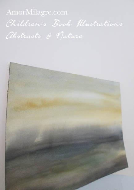 Amor Milagre Sunrise Lake Yellow Color Nature Paintings Watercolor Abstract The Shop at Dove Cottage Children's Book Illustrations beautiful for all spaces ages, nursery amormilagre.com