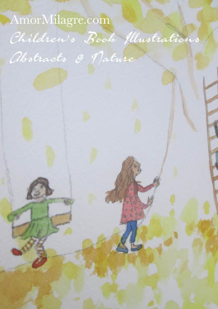 Amor Milagre The Children's Tree yellow Autumn Fall Nature Paintings Watercolor Abstract The Shop at Dove Cottage Children's Book Illustrations beautiful all spaces ages, nursery amormilagre.com