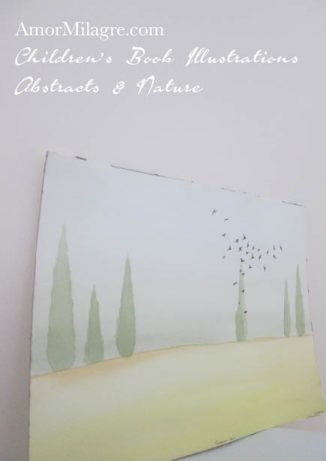 Amor Milagre Tuscan Air Italy trees birds green Nature Paintings Watercolor Abstract The Shop at Dove Cottage Children's Book Illustrations beautiful all spaces ages, nursery amormilagre.com