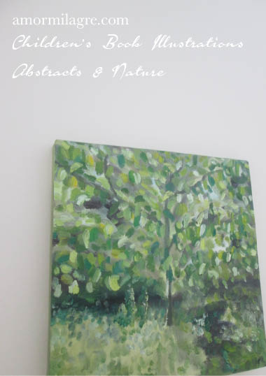 Amor Milagre Sunshine in the Garden Trees 1 Oil Painting original artwork amormilagre.com