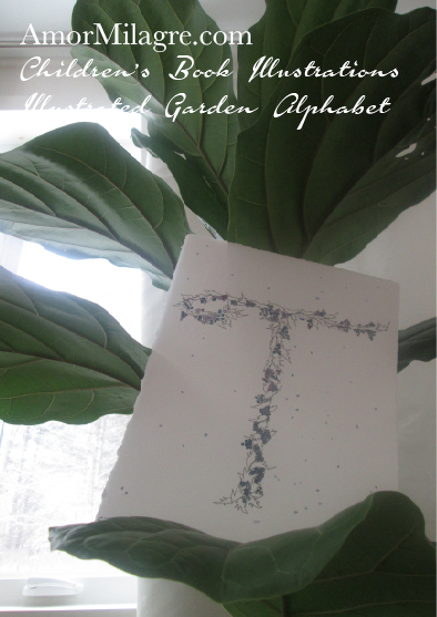 Amor Milagre Illustrated Garden Alphabet Letter T Snowy Blueberry Christmas Winter 1 Watercolor Original Painting Art Print Stationery Baby & Child Nursery illustration artwork amormilagre.com