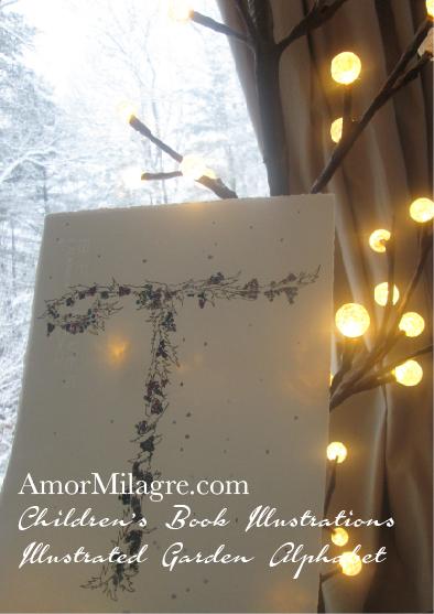 Amor Milagre Illustrated Garden Alphabet Letter T Snowy Blueberry Christmas Winter 2 Watercolor Original Painting Art Print Stationery Baby & Child Nursery illustration artwork amormilagre.com