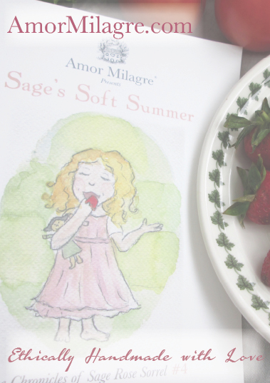 Amor Milagre Presents Sage's Soft Summer nursery garden flowers ethical organic original children's book amormilagre.com nursery bookshop strawberry baby doll Hazel front memories vegan girls picnic