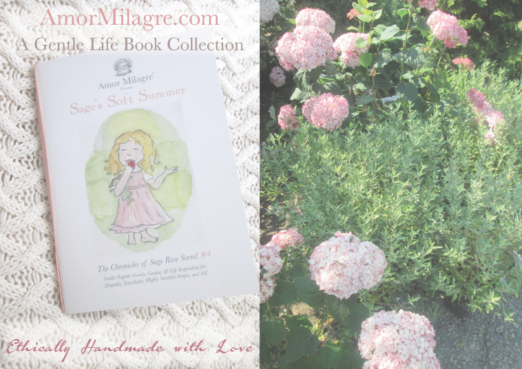 Amor Milagre Presents Sage's Soft Summer nursery garden flowers ethical organic original children's book amormilagre.com nursery bookshop strawberry baby doll Hazel memories vegan girls