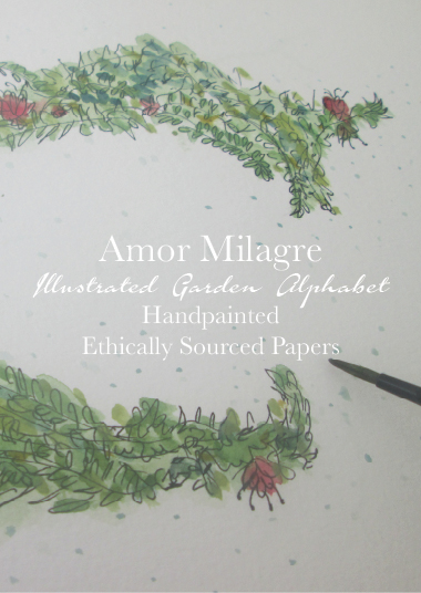 Amor Milagre Romantic Ethical Gift Shop Baby & Child Custom Gifts baby shower Illustrated Garden Alphabet Letter E Flowers Red Pink Green Leaves amormilagre.com spell a name, word, initials, wedding gift, birthday present woman children kids