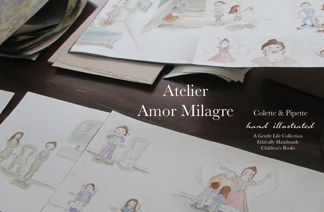 Atelier Amor Milagre Colette & Pipette Won't Use the Toilet New Ethically Handmade Children's Book Handpainted Illustrations Watercolor amormilagre.com