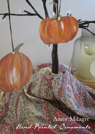 Autumn Pumpkins Hand-Painted Holiday Ornaments Organic Ethical Gifts set amormilagre.com