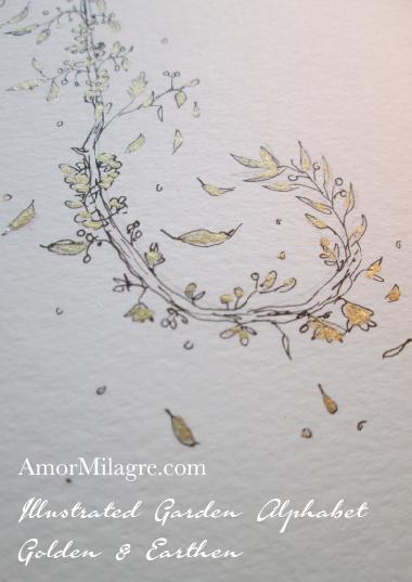 Illustrated Garden Alphabet Letters Custom Golden Amor Milagre 2