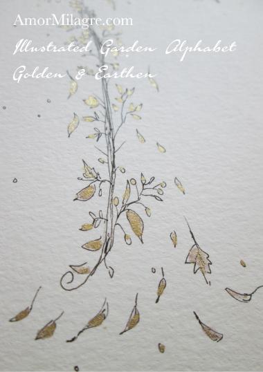 Illustrated Garden Alphabet Letters Custom Golden Amor Milagre 5