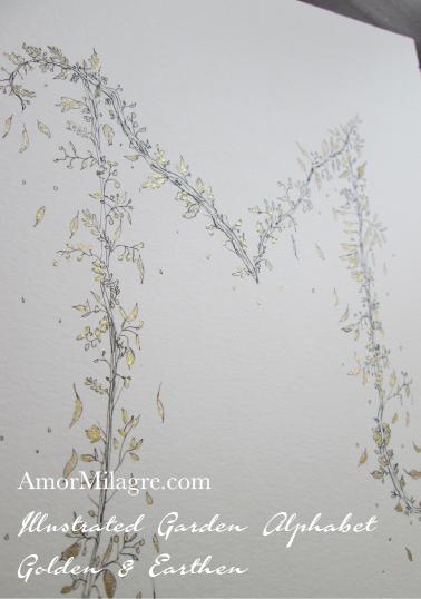 Illustrated Garden Alphabet Letters Custom Golden Amor Milagre 7